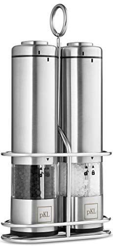 Pro Kitchen Life Battery Operated Salt and Pepper Electric Grinder Set - Pack of 2 - Durable Stainless Steel with Holder Tray - Adjustable Ceramic Coarseness with LED Light and Caps at Bottom