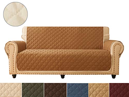 Ameritex Sofa Cover, Reversible Quilted Furniture Protector, Ideal Loveseat Slipcovers for Pets & Children, Water Resistant, | Double line Checkered Grid Blue (Pattern1:Sand/Beige, Sofa)