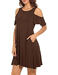 Women's Summer Cold Shoulder Tunic Top Swing T-Shirt...