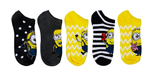 Universal Women's Despicable Me 5 Pack No Show Socks, Assorted, 9-11]()