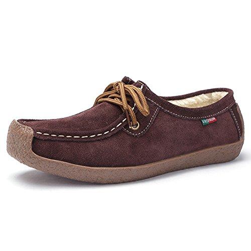 STQ Women Lace Up Suede Flats Shoes Fashion Comfort Square Toe Snail Work Sneakers 806-1 Brown Faux Fur LpWPyu3COj