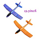 ONEGenug 2pcs Airplane Outdoor Sports Toy, Manual throwing, Model Foam Glider Outdoor Fun, Blue & Orange Color, Upgrade Large Size
