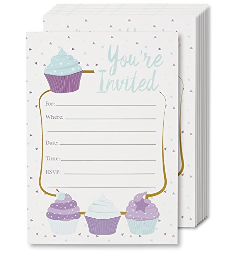 Cupcake Invitation Cards - 24 Fill-in Invites with Envelopes for Kids Birthday Party and Baby Shower, 5 x 7 Inches, Postcard Style -