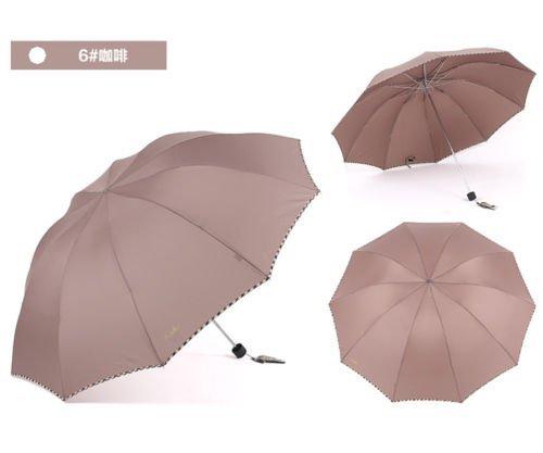 Beige Fold Umbrella Mens Womens Rain Umbrella Windproof Anti-Uv Parasol by Umbrella Compact