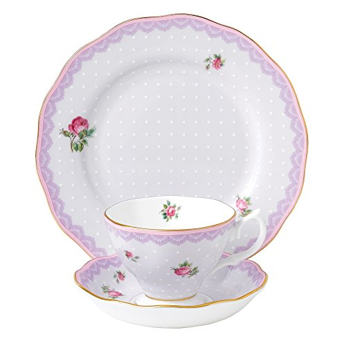 (Royal Albert Candy 3 Piece Teacup, Saucer and Plate Set, 8