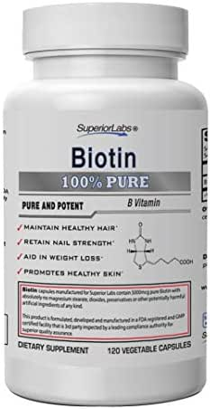 Superior Labs – Best Natural Biotin NonGMO Supplement – for Luscious Longer Hair and Lashes – Stronger Nails – Healthy Skin – Energy Booster – Healthy Weight - 5000 mcg, 120 Vegetable Caps