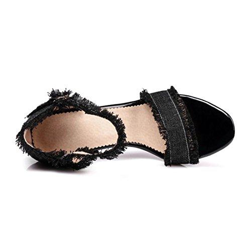col Forma Dimensioni Denim di Scarpe Alto Tacco Sandali Donna di Tacco Sottile Scarpe a Estate Black AIKAKA Grandi con Primavera xY8fUaYwq