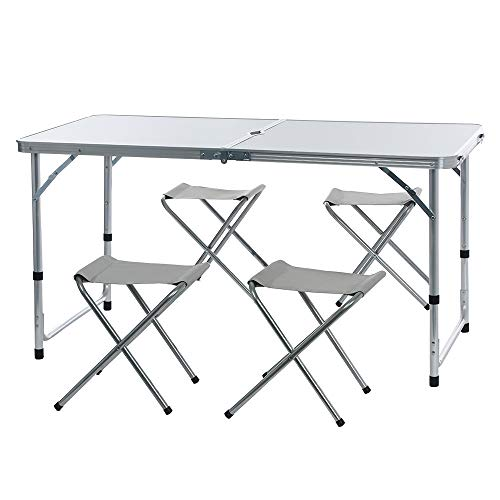 Lookvv Camping Tables Folding Picnic Table with 4 Chairs Portable and Lightweight, for Outdoor,Camping,BBQ,Party and Dining White ()