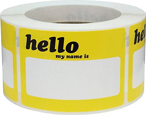 - Hello Name Tag Stickers Yellow Blank Space for Your Name 3 1/2 x 2 1/2 Inch Rectangles 500 Adhesive Labels