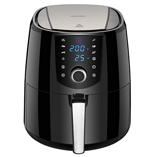OMORC Air Fryer, 3.8QT(w/Cookbook) 15-in-1 Fast Deep Fryer Oven w/Wet Finger-Friendly Quick Knob & Touch Screen Mini Oilless Hot Air, 8 Models, Preheat, Nonstick Basket, 2-Year Warranty