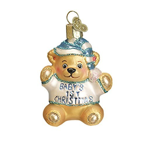 Old World Ornaments: Baby's First Teddy Bear Glass Blown Ornaments, Colors May Vary ()