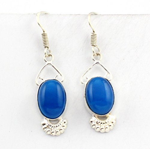 925 Sterling Silver Overlay Aqua Chalcedony Earring Handmade Fashion Jewelry (Blue Topaz Earrings Chalcedony)