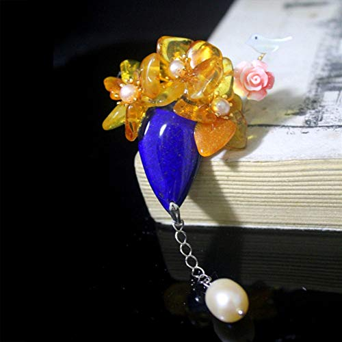 THTHT Brooch Pendant Dual-Use Shell Flower Women's Accessories Lapis Lazuli Amber Vase Hanging Pearl Handmade Corsage Vintage Exquisite High-End Jewelry Luxury