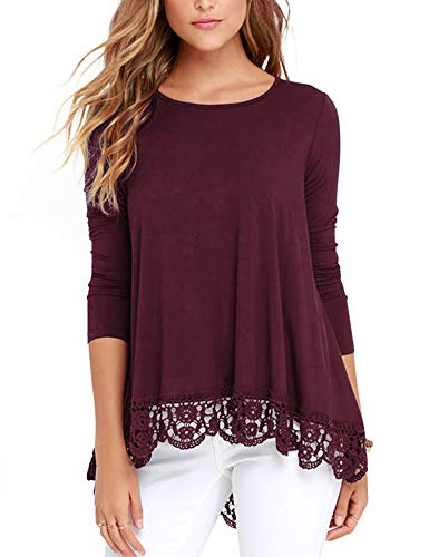 - RAGEMALL Women's Tops Long Sleeve Lace Trim O-Neck A-Line Tunic Blouse Tops for Women Wine Red S