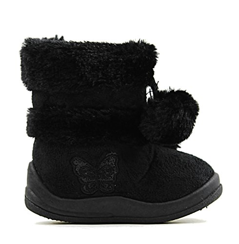Zello Baby Infant Girls Flat Snow Fashion Cute Booties Boots (6, Black)