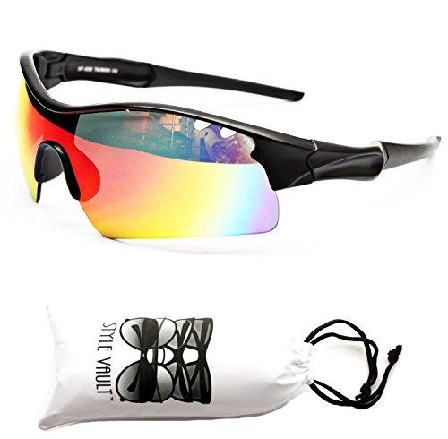 X411-vp Style Vault Sports Wrap Sunglasses (008BR Mt Black-Dark Red Rainbow, UV400)