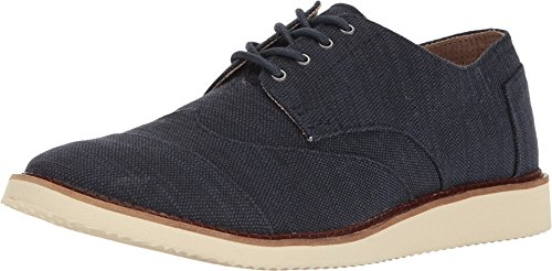 TOMS Men's Brogue Lace-Up Navy Slubby Linen Shoe
