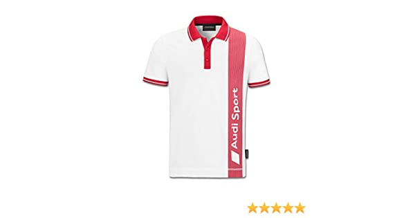 Audi Sport - Polo para hombre, color blanco y rojo small: Amazon ...