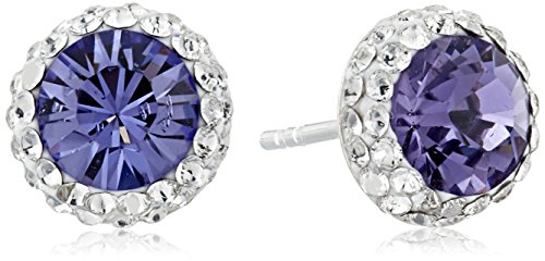 Sterling Silver Swarovski Crystal Halo Purple Stud Earrings