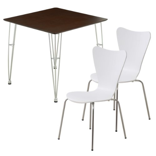 おしゃれでシンプル!ダイニング3点セット(テーブルダークブラウン)(チェアホワイト)(テーブルとチェア2脚セット) B06VT97HNP 3点セット|ダークブラウン×ホワイト ダークブラウン×ホワイト 3点セット