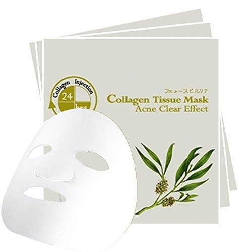 Acne Free Collagen Facial Mask, Antibacterial Pimples & Rashes with Tea Tree Oil Essence & Seaweed Serum, Facial treatment for women & men of all skin types, (Pack of 3)