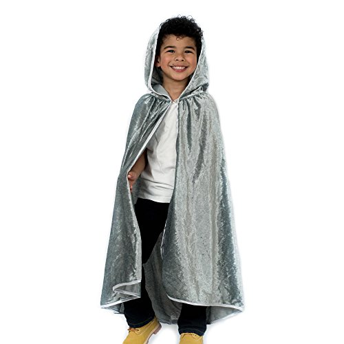 Kids Cosplay Hooded Cloak Cape - Silver -