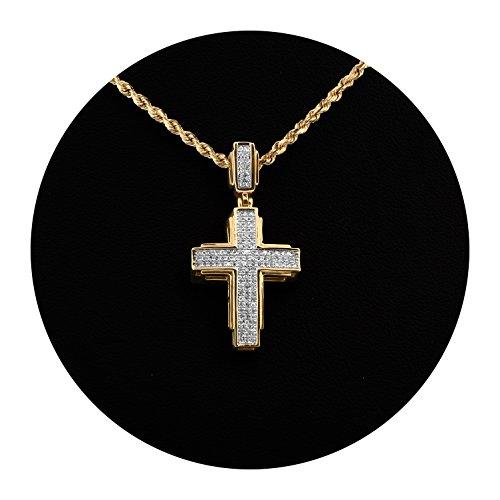 - MR. BLING 10K Yellow Gold 0.25 Carats (ctw) Diamond Cross Pendant (1.35