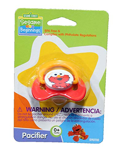 Sesame Beginnings Elmo Pacifier - BPA Free- 1 Pack paci for Baby Infant Toddler - Red
