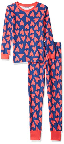 (Amazon Essentials Little Girl's Long-Sleeve Tight-Fit 2-Piece Pajama Set Sleepwear, Hearts/Blue, XS (4-5))