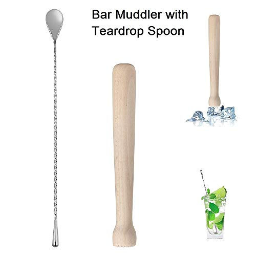 NJ Wooden Cocktail Bar Muddler 10″, Drink Muddler & Mixing Spoon 12″ with Long Spiral Handle to Create Refreshing Drinks, Teardrop Spoon Stirrer, Cocktail Spoon, Bartender Tools: 2 Pcs. Price & Reviews