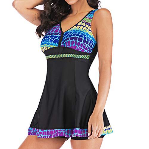 SERYU Women Plus Size Gradient Tankini Swimjupmsuit Swimsuit Beachwear Padded ()