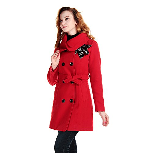 CHAREX Women Wool Blended Coat Slim Collar Belted Button Winter Outwear Long Jacket Red (Belted Denim Coat)
