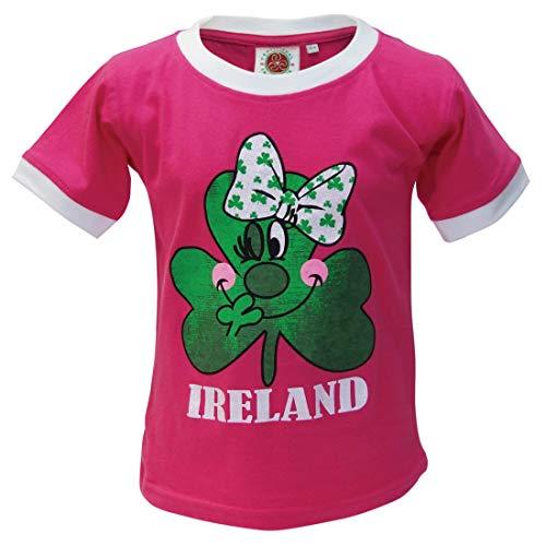 Traditional Craft Ltd. Pink Shamrock Ringer Kids T-Shirt (11-12 Years)
