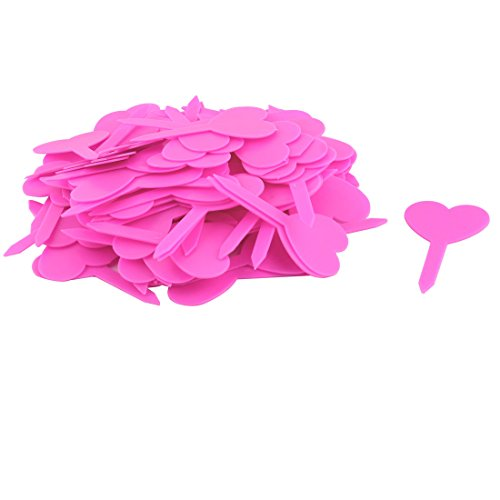 uxcell Plastic Household Garden Heart Shaped Plant Seed Tag Label Marker Stick 100pcs Pink