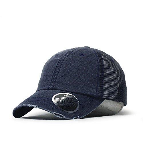 Cotton Low Profile Mesh Adjustable Trucker Baseball Cap (Distressed Navy) ()