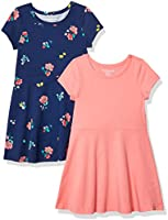 Amazon Essentials Girls' 2-Pack Short-Sleeve Skater Dress