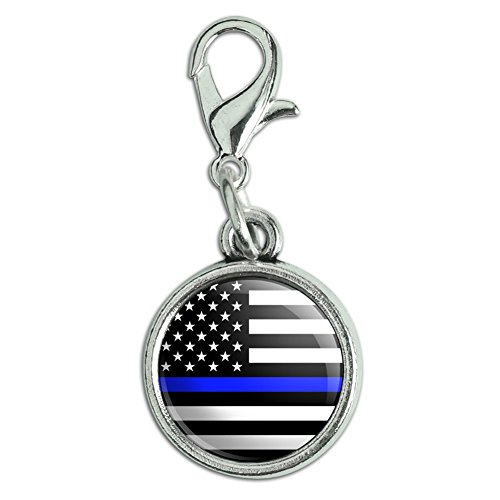 GRAPHICS & MORE Thin Blue Line American Flag Antiqued Bracelet Pendant Zipper Pull Charm with Lobster Clasp