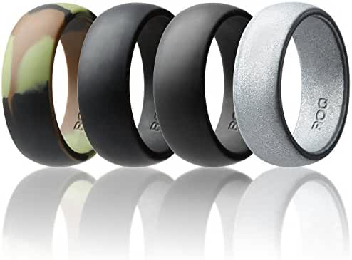 Silicone Wedding Ring For Men By ROQ Affordable Silicone Rubber Band, 7 Pack, 4 Pack & Singles - Camo, Metal Look Silver, Black, Grey, Light Grey