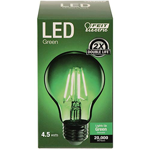"Feit Electric A19/TG/LED 40W Equivalent 4.5 Watt Dimmable Green Filament Glass, 440 Lumens A19 Transparent 4.5W LED, E26 Medium Base, Clear, 2.4"" D x 4.1"" H"