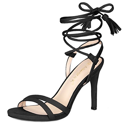Allegra K Women's Stiletto Heel Tassel Lace Up Black Sandals - 6.5 M US