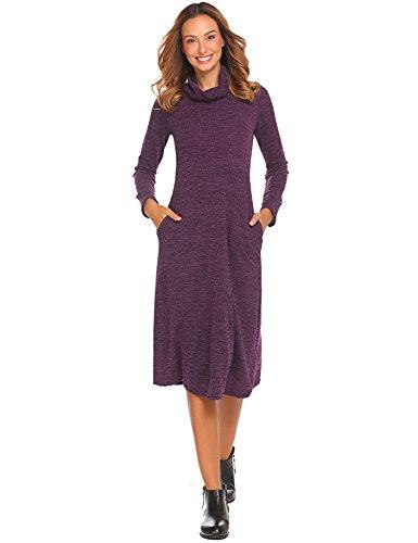 Women's Sweater Dress Long Sleeve Pullover O Neck Knitted Knitwear Purple,XL