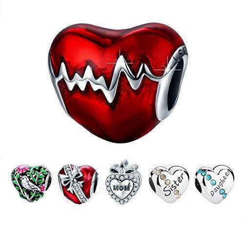 BAMOER 925 Sterling Silver Heart Charm Heartbeat Bead Love Charm Fit for Bracelet Necklace for (Heart Charm Bead Bracelet)