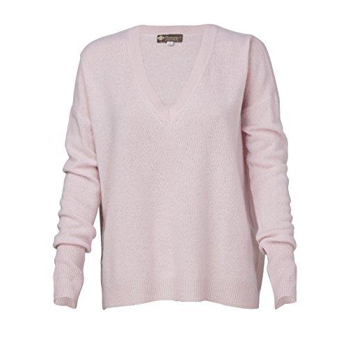 Women's Pure Cashmere V-Neck Boyfriend Sweater (Pale Blossom, (Pale Blossom Apparel)