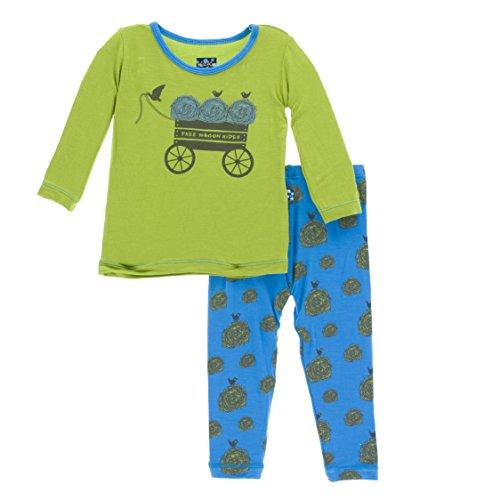KicKee Pants Little Boys Print Long Sleeve Pajama Set, River Hay Bales, Boys 6