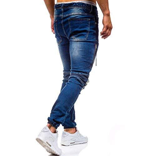 Jeans Holes Skinny Jogger Adelina Pantaloni Knee Straight Pants Stretch Denim Retro In Men's Blau Ridges Abbigliamento Ripped qnng8F1S