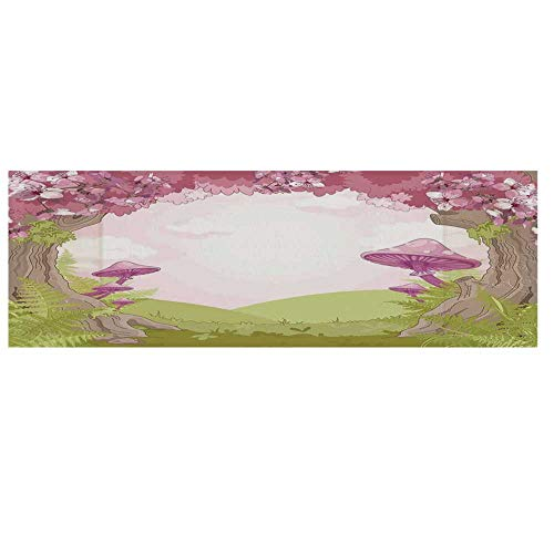 """(Mushroom Decor Microwave Oven Cover with 2 Storage Bag,Cherry Blossom Trees in Fairytale Land Forest Surreal Fantasy Wonderland Cover for Kitchen,36""""L x 12""""W)"""