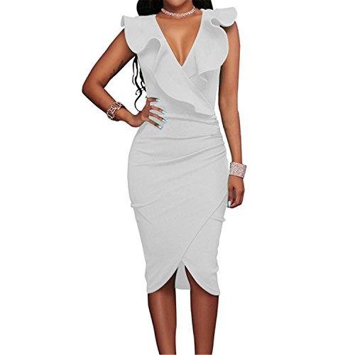 GUNCOI 2018 Women Summer Dress Sexy Sleeveless V Neck Pencil Party Dresses Ladies Ruffles Bodycon Slim Midi Club Vestidos White XXXL