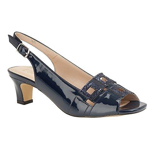 Lotus Navy Aubrey Open-Toe Sling-Back Sandals Navy & Blue & Animal Prin