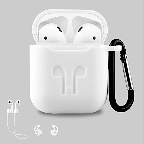 AC Parts AirPods Case Protective Silicone Cover with 2 Ear Hook , 2 Anti-loss Strap, 1 earphone bag for Apple Airpods Charging Case - Return Canada Policy Apple