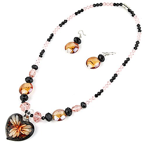Murano Orange Glass Pendant (Heart Pendant Murano Glass Necklace with Matching Murano Glass Beads Earrings Set (ORANGE))